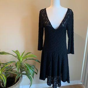 Free People Black Lace Overlay Dress
